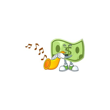 With trumpet paper money cartoon character mascot style