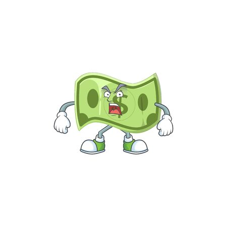 Angry paper money cartoon character mascot style