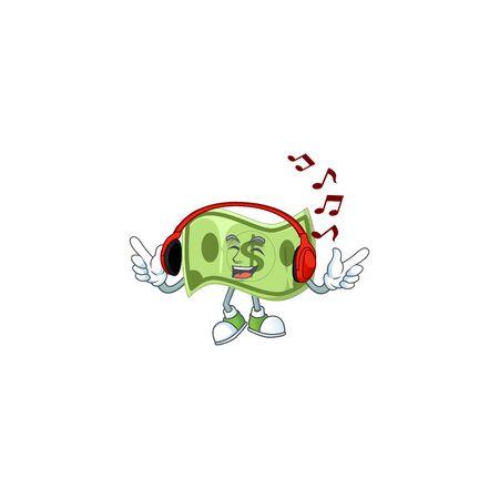 Listening music paper money cartoon character mascot style