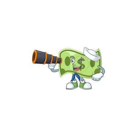 Sailor with binocular paper money cartoon character mascot style