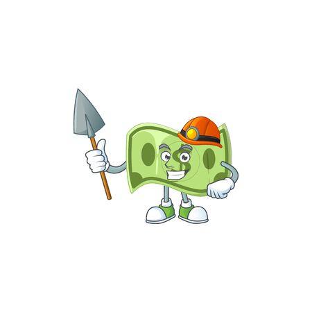 Miner paper money cartoon character mascot style Stock Illustratie