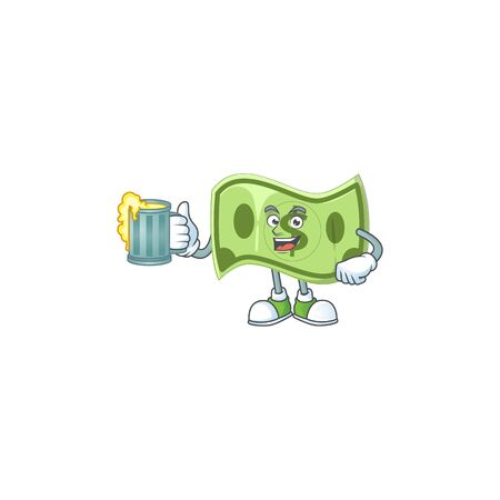 With juice paper money cartoon character mascot style
