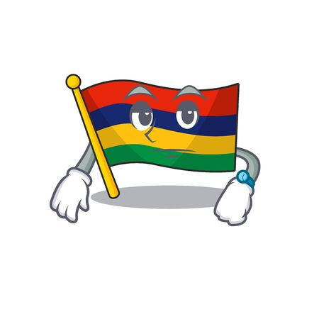 Waiting flag mauritius in the character shape vector illustration