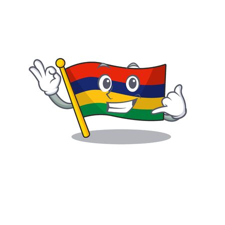 Call me flag mauritius in the character shape vector illustration 일러스트
