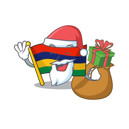 Santa with gift flag mauritius in the character shape vector illustration