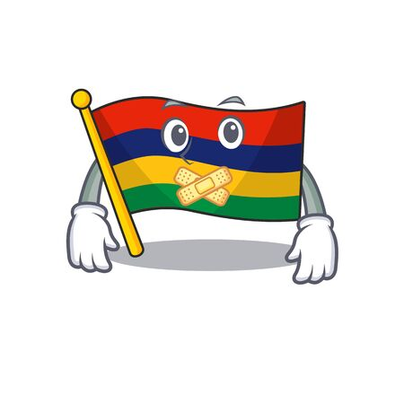 Silent flag mauritius in the character shape vector illustration