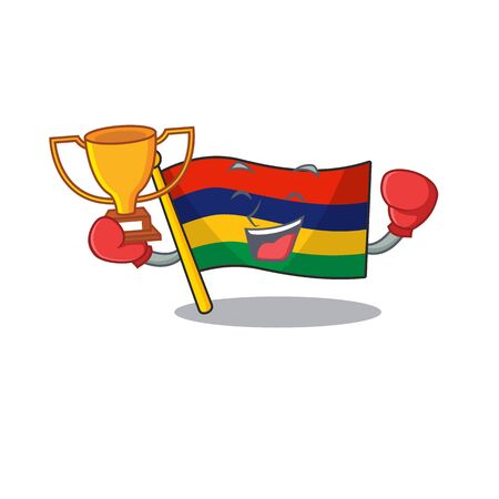 Boxing winner flag mauritius in the character shape vector illustration