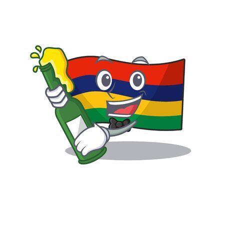With beer flag mauritius in the character shape vector illustration