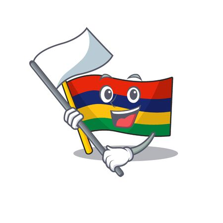 With flag flag mauritius in the character shape vector illustration
