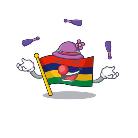Juggling flag mauritius in the character shape vector illustration
