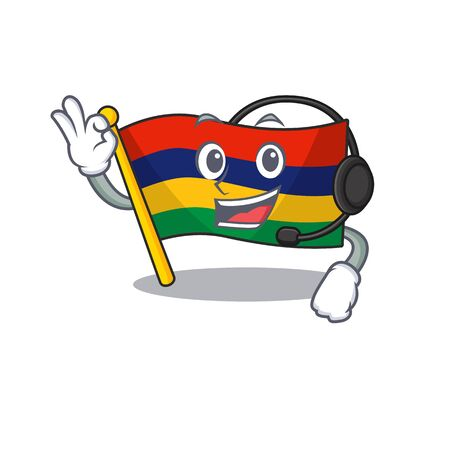 With headphone flag mauritius in the character shape vector illustration