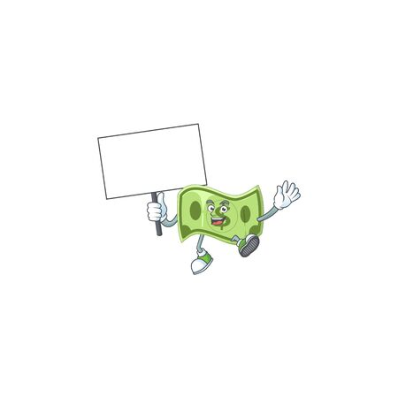 Bring board paper money cartoon character with mascot  イラスト・ベクター素材