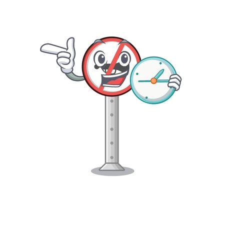 With clock no honking with the mascot shape vector illustration Фото со стока - 130604869