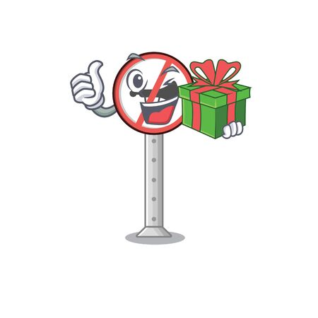 With gift no honking on the cartoon roadside vector illustration