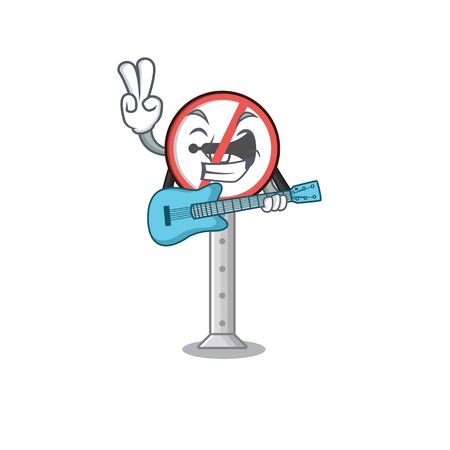 With guitar no honking on the cartoon roadside vector illustration  イラスト・ベクター素材