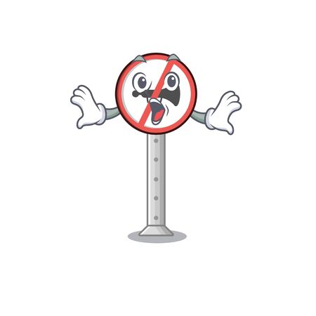Surprised no honking on the cartoon roadside vector illustration