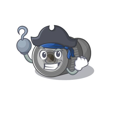 Pirate zoom lens mascot isolated with character Illustration