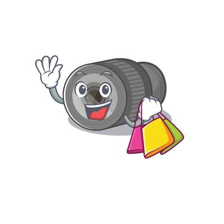 Shopping zoom lens in a cartoon bag Illustration