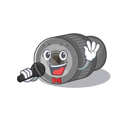 Singing zoom lens cartoon shape in character