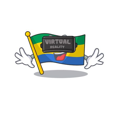 Virtual reality flag gabon isolated in the cartoon  イラスト・ベクター素材