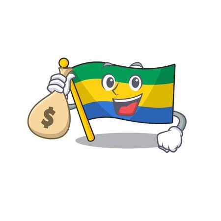 With money bag flag gabon with the cartoon shape