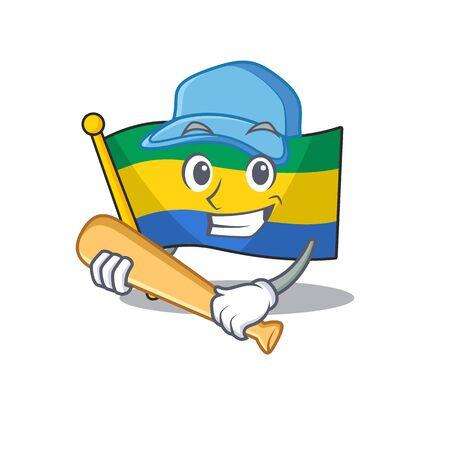 Playing baseball flag gabon with the cartoon shape Illustration