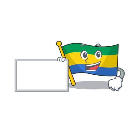With board flag gabon with the cartoon shape