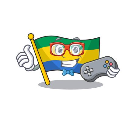 Gamer flag gabon isolated in the cartoon  イラスト・ベクター素材