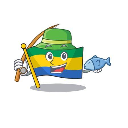 Bandera de pesca de gabón aislado en la caricatura
