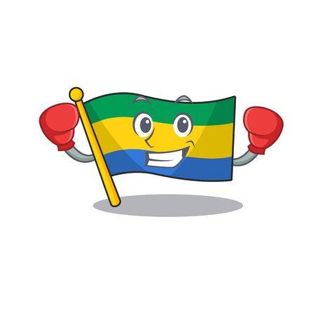 Boxing flag gabon with the cartoon shape vector illustration Illustration