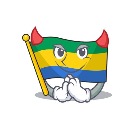 Devil flag gabon isolated in the cartoon