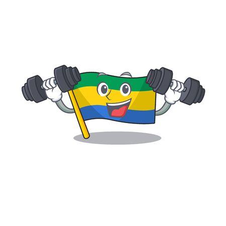 Fitness flag gabon with the cartoon shape