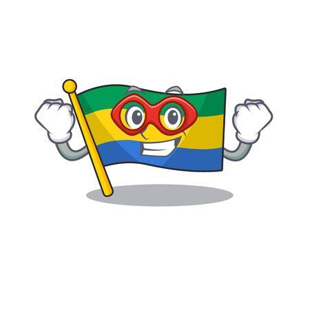 Super hero flag gabon flown on mascot pole