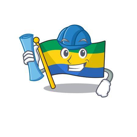 Architect flag gabon flown on mascot pole