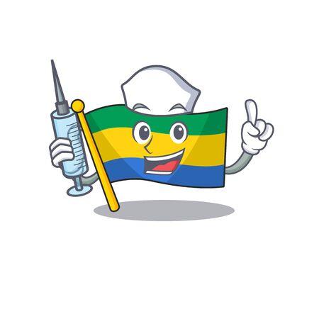 Nurse flag gabon flown on mascot pole Reklamní fotografie - 130759507