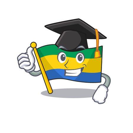 Graduation flag gabon flown on mascot pole