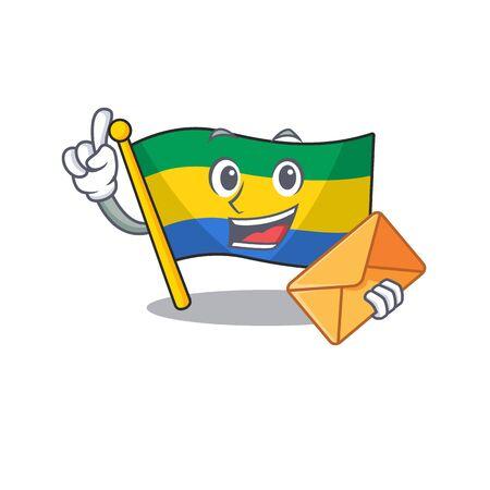 With envelope flag gabon flown on mascot pole
