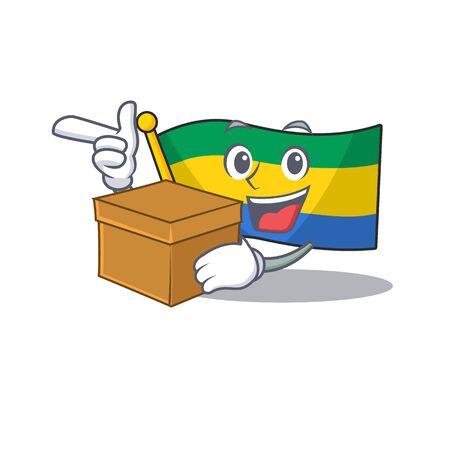 With box flag gabon flown on mascot pole