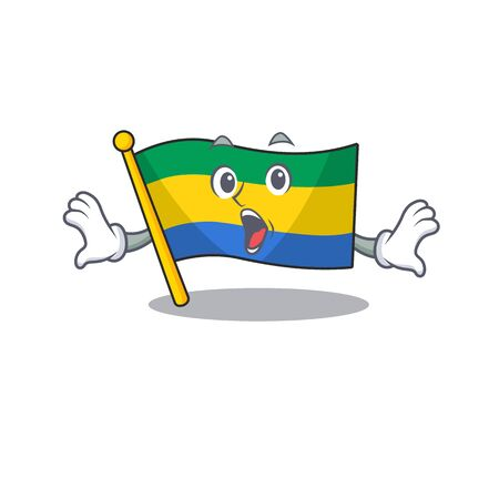 Surprised flag gabon isolated in the cartoon