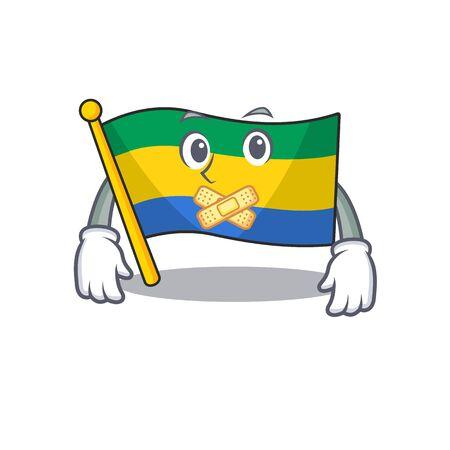 Silent flag gabon stored in drawer character Иллюстрация