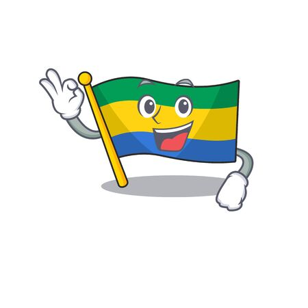 Okay flag gabon flown on mascot pole vector illustration