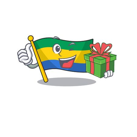 With gift flag gabon isolated in the cartoon