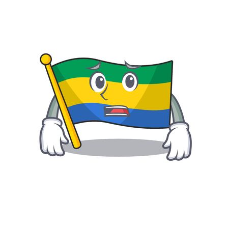 Afraid flag gabon isolated in the cartoon