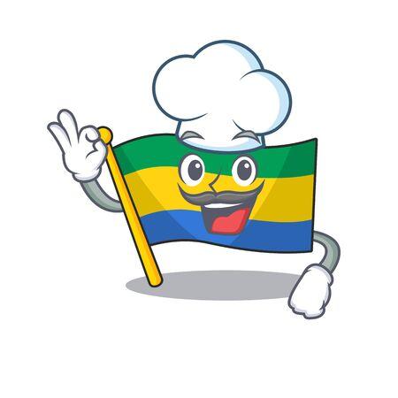 Chef flag gabon flown on mascot pole