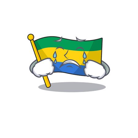 Crying flag gabon isolated in the cartoon