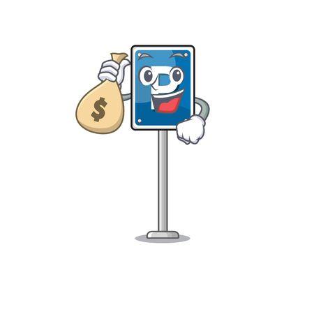 With money bag parking sign on a cartoon roadside Ilustrace