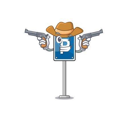 Cowboy parking sign on a cartoon roadside Ilustrace