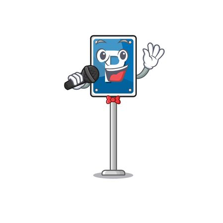Singing Singing parking sign cartoon isolated the mascot Иллюстрация