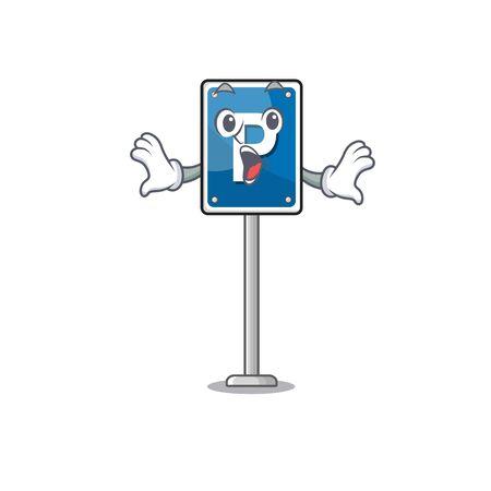 Surprised parking sign cartoon isolated the mascot vector illustration Çizim