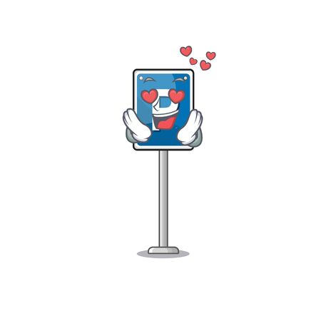 In love parking sign cartoon isolated the mascot Иллюстрация